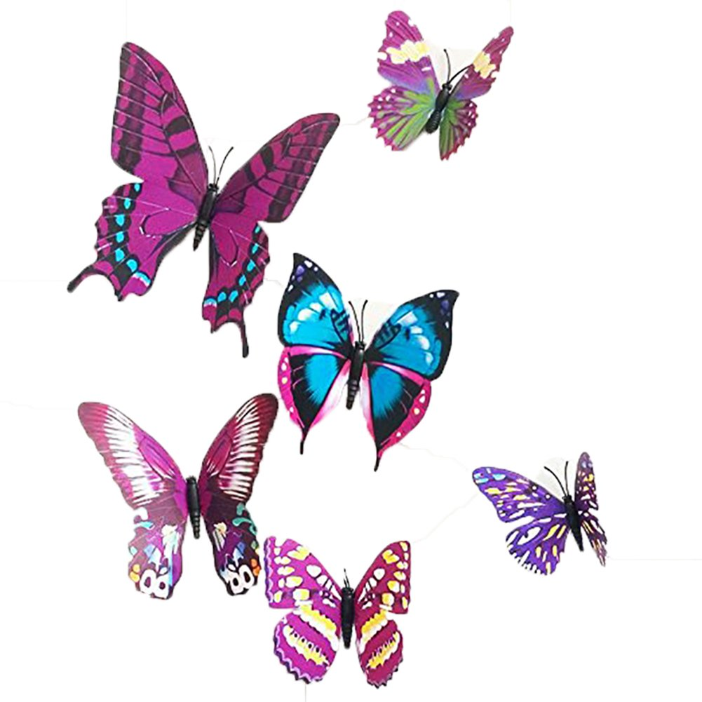 12 Pieces 3D Butterfly Stickrs Fashion Design DIY Wall Decoration House Decoration Babyroom Decoration-PURPLE ZooYoo AEQW-WER-AW140188