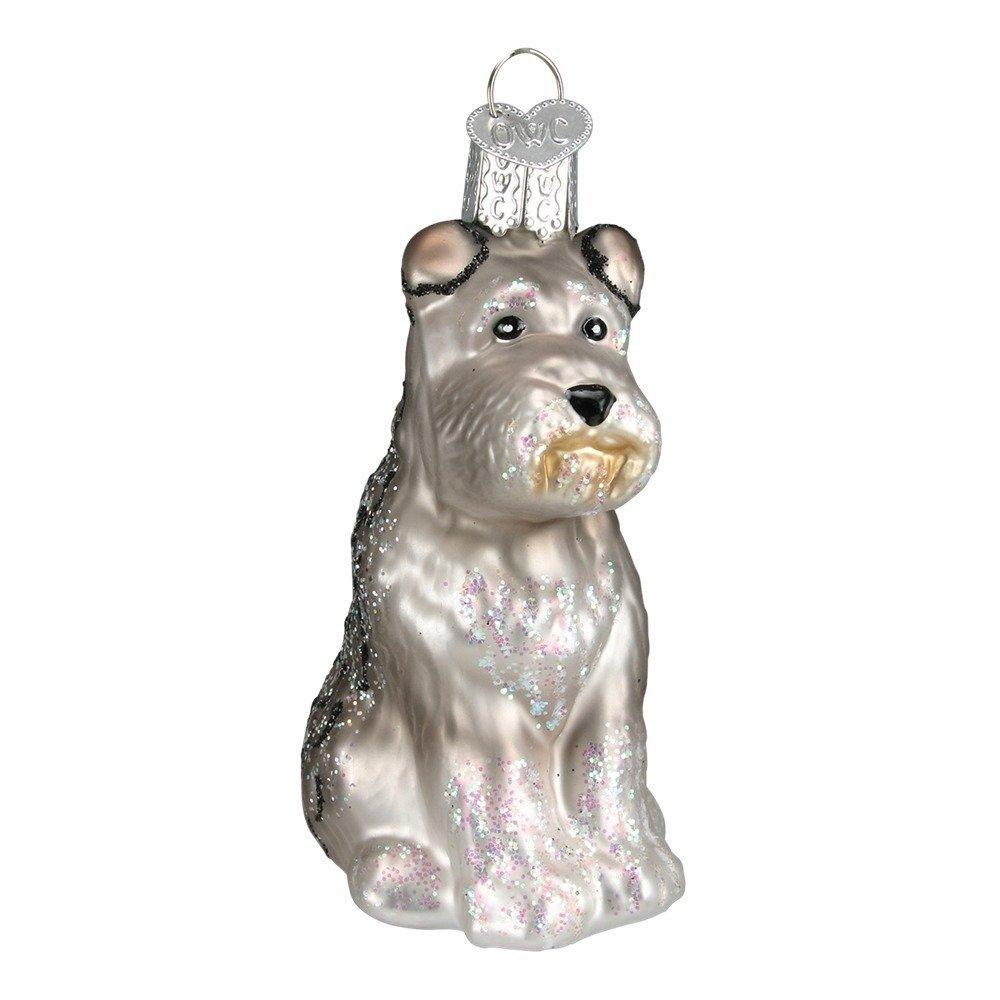 Old World Christmas Glass Blown Grey Schnauzer Ornament