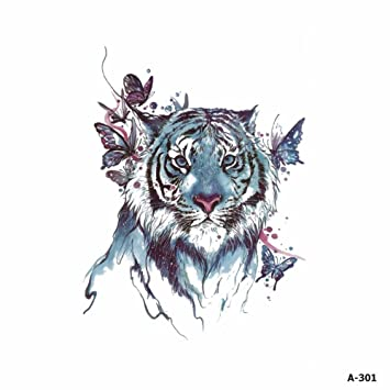 dbfbeefeae658 Amazon.com : WYUEN 5 Sheets Watercolor Tiger Tattoo Waterproof Temporary  Tattoo Sticker for Women Men Fake Body Art 9.8X6cm A-301 : Beauty