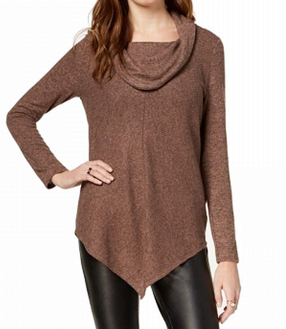 BCX Women's Large Asymmetric Rib Cowl Neck Sweater Brown L