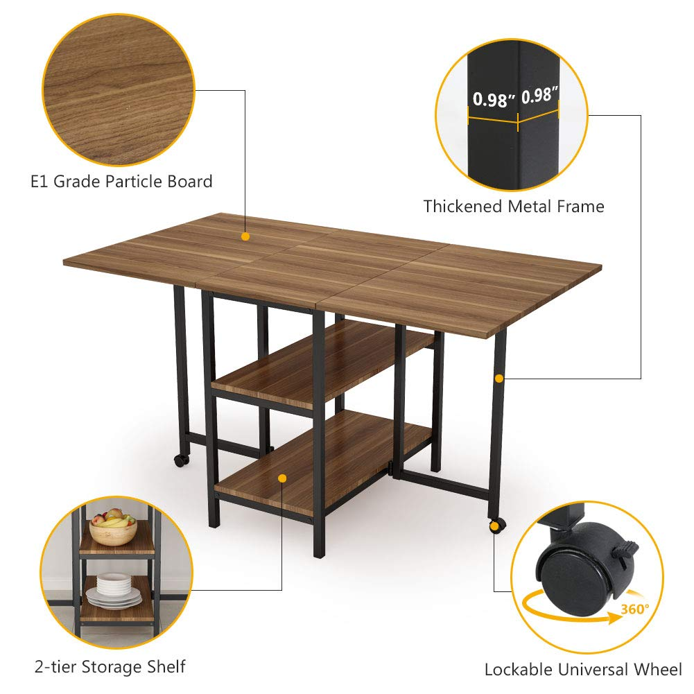 Folding Dining Table, Tribesigns Expandable Dining Table with Double Drop Leaf, Extra 2-Tier Storage Shelf, 2 Lockable Casters for Home Kitchen Use, Chairs Not Included. by Tribesigns (Image #6)