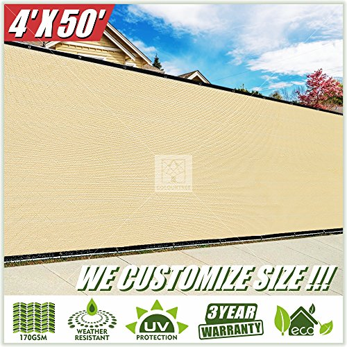 ColourTree 4' x 50' Fence Privacy Screen Windscreen Cover Fabric Shade Tarp Plant Greenhouse Netting Mesh Cloth Beige - Commercial Grade 170 GSM - Heavy Duty - 3 Years Warranty ()