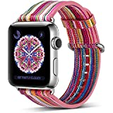 Pierre Case Apple watch band 38mm Genuine Leather iwatch strap Rainbow Replacement Bands with Stainless Metal Clasp for Apple Watch Series 3 Series 2 Series 1 Sports Edition mens womens (Pink D)