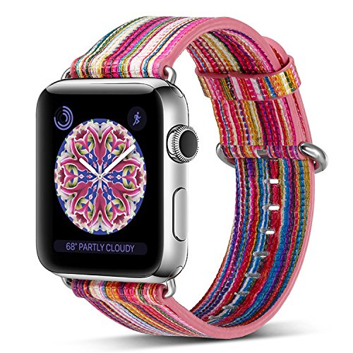 Compatible Apple Watch Band 42mm,Pierre Case Genuine Leather Iwatch Strap Rainbow Replacement Bands Stainless Metal Clasap Compatible iWatch Series 3 Series 2 Series 1 Edition Women Girls(Pink D) by PierreCase