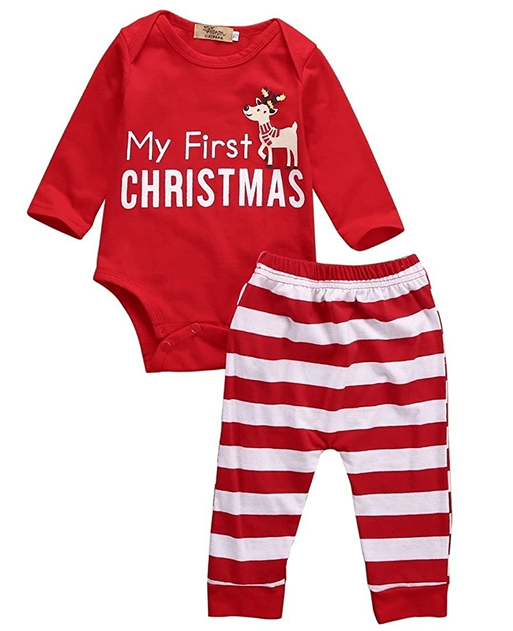 Chickwin 3Pcs My First Christmas Santa Clothes Set Toddler Newborn Infant Baby Boy Girl Deer Romper Tops+Pants+Hat Outfits