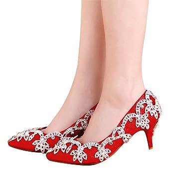ALUK- Damenschuhe Kristall Schuhe chinesische Spitze hoch mit einem einzigen Schuh Brautschuhe Hochzeitsschuhe...