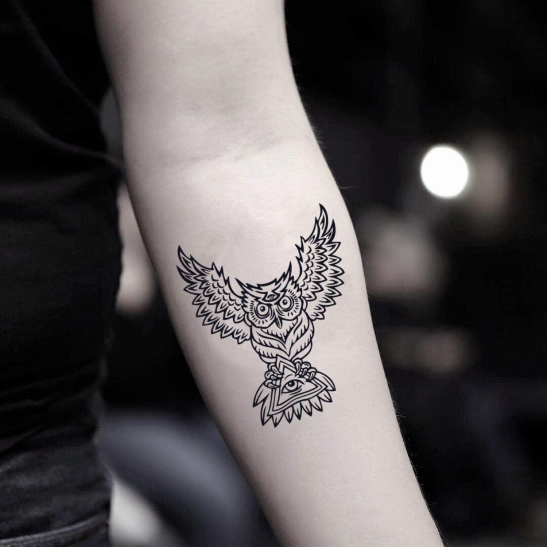 Tatuaje Temporal de Búho Illuminati (2 Piezas) - www.ohmytat.com ...