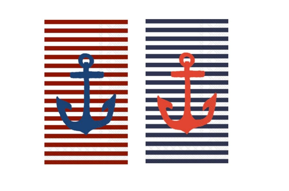 Anchors Away Nautical Guest Towels: Bundle Includes (32) Guest/Hand Towels in (2) Yacht Club Anchor Designs in Red, White, and Blue