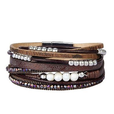 9d9b53cc4a11 JOYMIAO Pulsera de Cuero Para Mujer Pulsera Trenzada Multicapa Boho Pearls  Wrap Para Niñas (Marrón