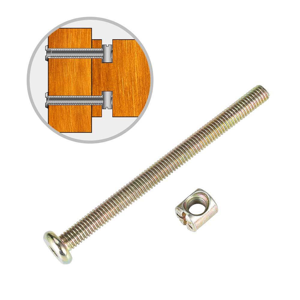 camas kit de surtido de tuercas M6 x 40//50//60//70//70//80 mm para muebles de cunas cunas y sillas tornillos cil/índricos 100 pz M6 Tornillos de tuercas de barril