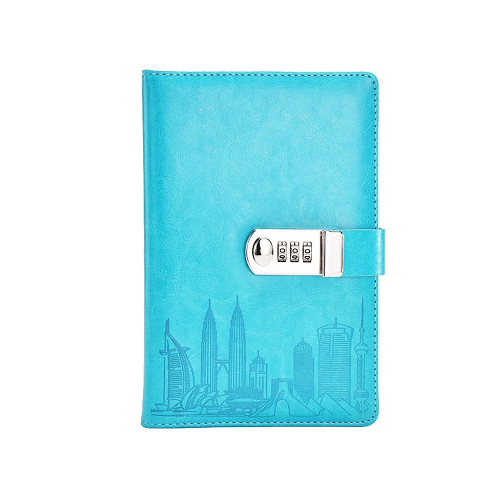 ToiM PU Leather Journal Writing Notebook Fashion Daily Notepad with Combination Lock and Pen Holder, A5 Size Password Diary for Men and Women (Without Chinese Writings) (Sky Blue)