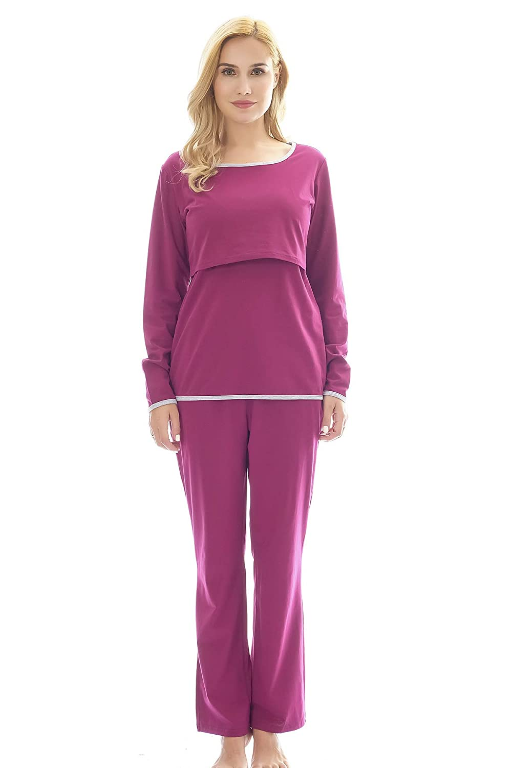 Bearsland Women's Maternity Pregnancy Sleepwear Set Nursing Breastfeeding Pajamas