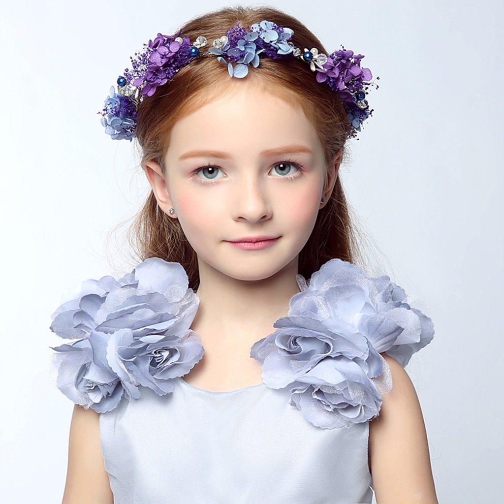 Wreath Flower, Girl Hair Ornaments Headband Accessories Child Princess Headdress (Color : Purple) by Wreath