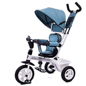 Qi Tai- Carrito de bebé Triciclo de niños Bicicleta Bebé Bicicleta 1-3-5 años Carro de bebé Carro Ligero Carro Ligero Cochecito Ligero (Color : Azul): ...