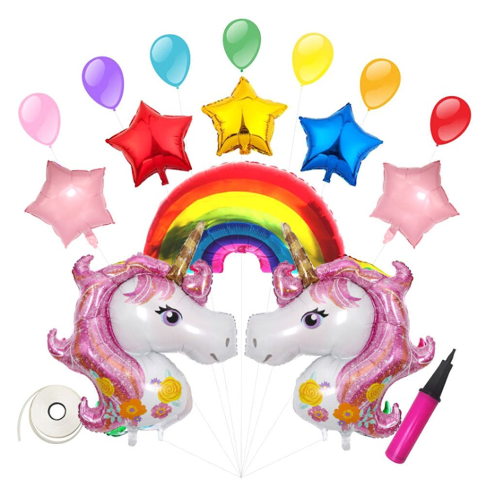 Rainbow Unicorn Balloons Birthday Party Supplies for Kids Birthday Decorations, Baby Shower Decorations (Pink)