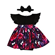 Emmababy 2pcs Kids Toddler Baby Little Girls Sisters Ruffle Floral Jumpsuit Romper Dress Lace Outfits Set with Headband (0~6Months, Black)