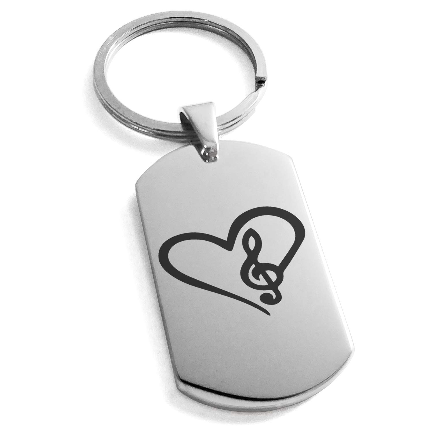 Tioneer Stainless Steel Love Music Treble Clef Heart Engraved Dog Tag Keychain Keyring