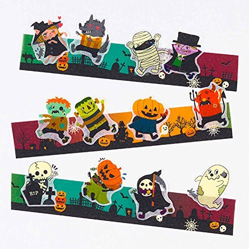 Bande Tape Set of 2 Masking Roll Stickers, Halloween Stickers, for Scrapbooking DIY (BDA241) -