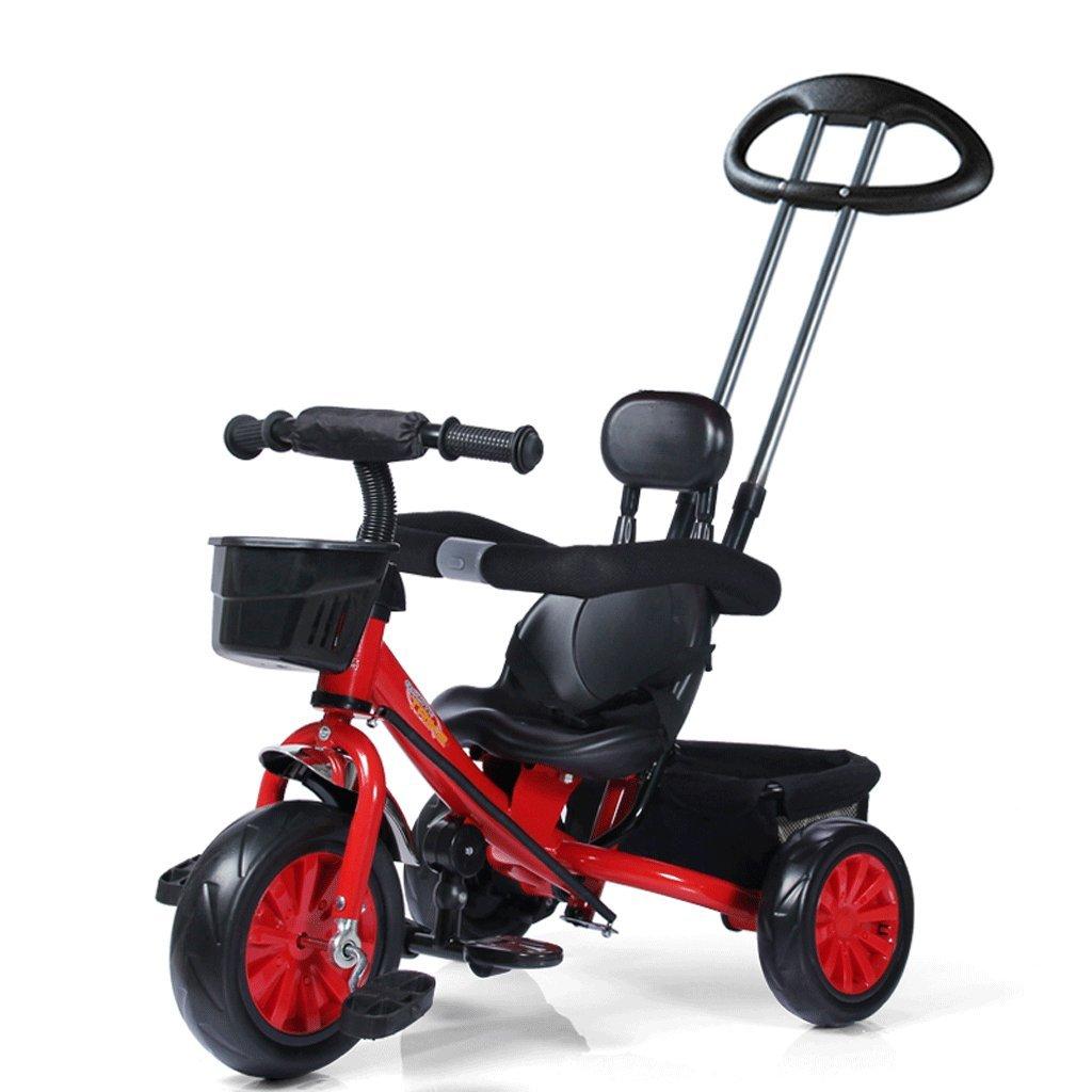 子供の三輪車1-5歳の赤ちゃんの自転車ベビーベビーカー子供カートの自転車、赤、85 * 50 * 100センチメートル B07C72FBZ8