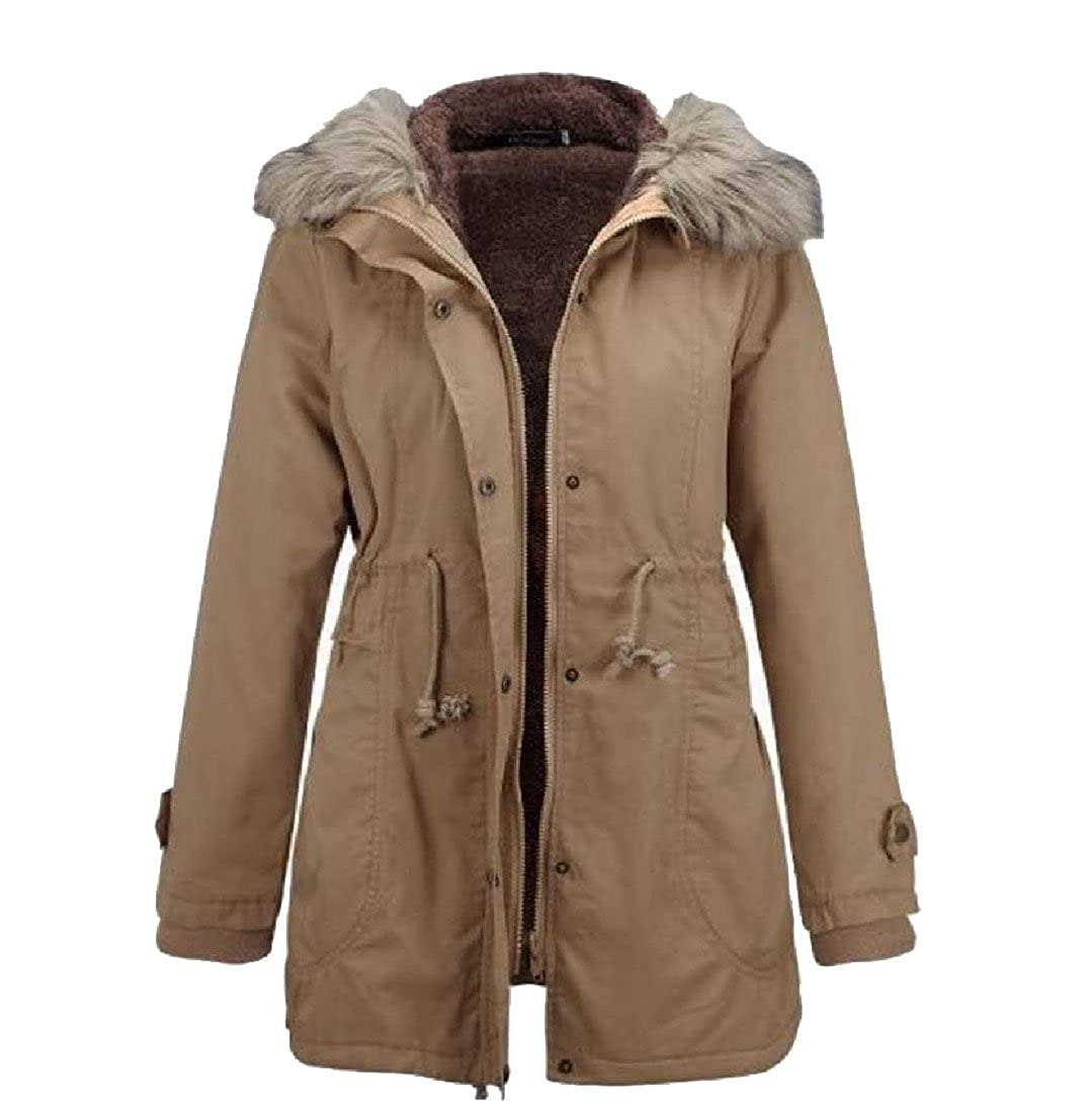 GodeyesWomen Godeyes Womens Drawstring Zip Novelty Pure Color Hood Parka Coat Jacket
