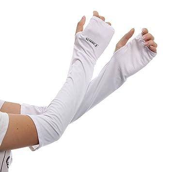 Mangas de proteccion solar - TOOGOO(R) Guantes de proteccion solar sin dedos de brazo de verano Mangas auto de bicicleta (Blanco): Amazon.es: Deportes y ...