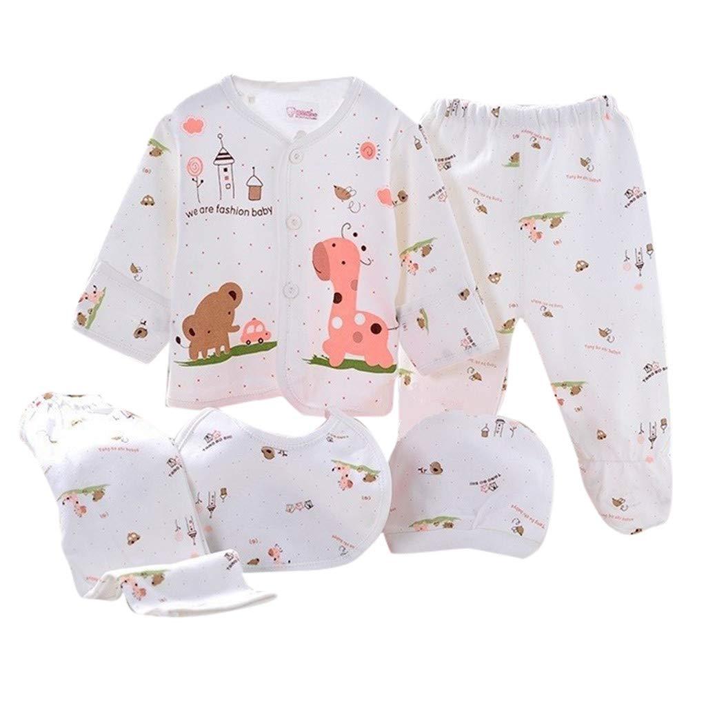 Sikye 5Pcs Newborn Baby Gift Outfit Set Newborn Girl Boy Cartoon Lovely Button Top + Hat + Bib + 2PC Pants 0-3 Months