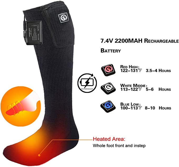 Calcetines el/éctricos calefactados calentadores universales de pie de invierno con bater/ía recargable para esqu/í Esqu/í al aire libre Calcetines gruesos Calcetines t/érmicos de invierno para pies