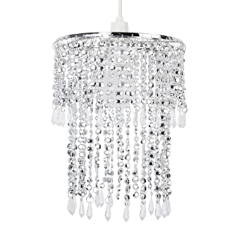 Elegant modern sparkling chrome acrylic crystal jewel bead effect elegant modern sparkling chrome acrylic crystal jewel bead effect ceiling pendant light shade amazon lighting mozeypictures Image collections