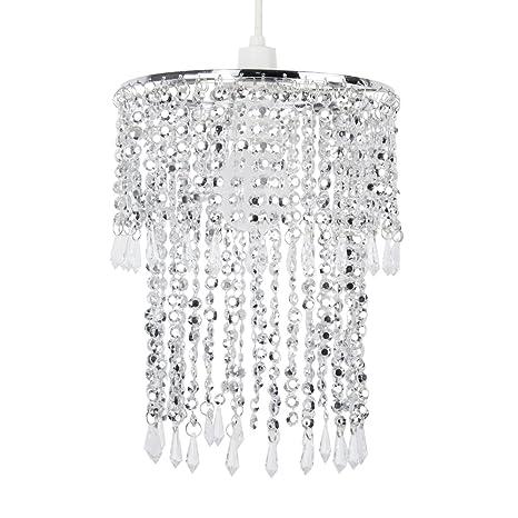 MiniSun - Pantalla de lámpara de techo moderna Glitter - con cascadas de abalorios transparentes