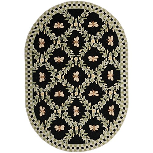 Safavieh Chelsea Collection HK55B Hand-Hooked Black Premium Wool Oval Area Rug (4'6