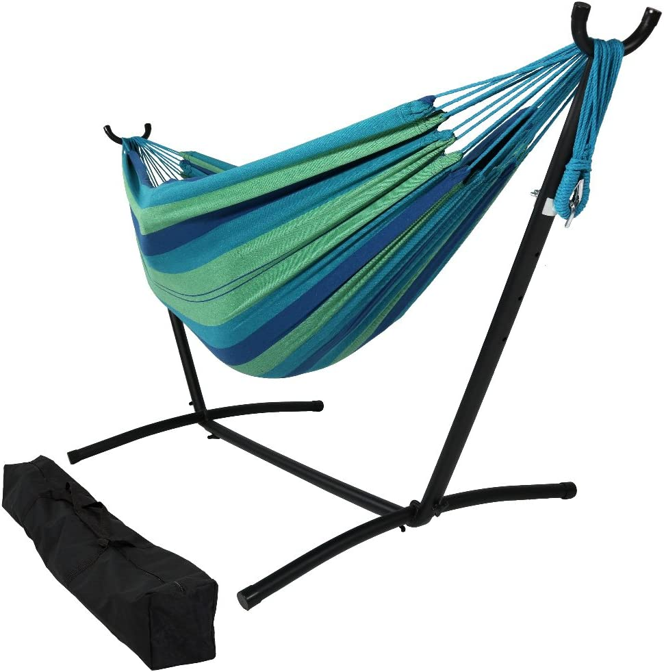 Sunnydaze 9 ft Steel Hammock Stand with Double Brazilian Hammock Combo - Beach Oasis
