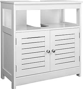 EUGAD Armario Bajo Lavabo Mueble para Debajo de Lavabo Mueble Lavabo de Baño Almacenamientocon 2 Puertas MDF 60 x 30 x 60 cm Blanco 0015WY: Amazon.es: Hogar