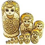 Winterworm Beautiful Attractive Adorable Exotic Glossy Yellow Gold Flower Pattern Handmade Wooden Russian Nesting Dolls Matryoshka Dolls Set 10 Pieces for Kids Toy Birthday