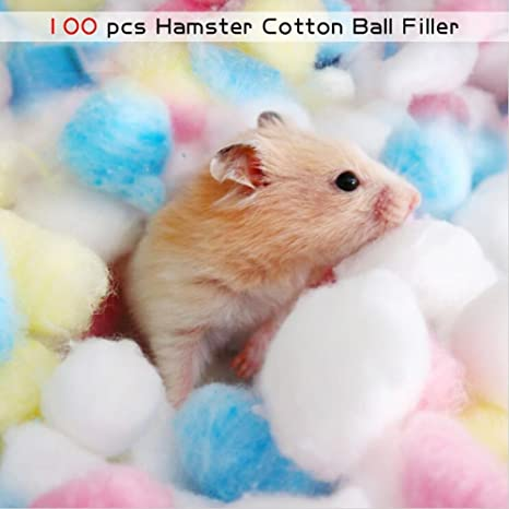 HYGMall 100 UNIDS / 1 BAG Cama Térmica Home Hamster Bola de Algodón Mascotas Pequeños Animales Nido Caliente bola de algodón relleno de Mascotas Para conejillo de Indias bola de algodón chinchilla (