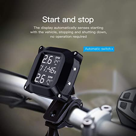 Leamer Motorrad Wasserdichtes Tpms Usb Reifendruckkontrollsystem Mit 2 Externen Sensoren Moto Alarm Manometer Auto