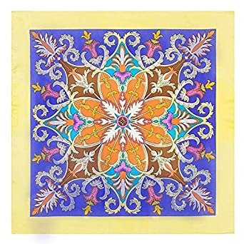 010bcfcd95f6 HITSAN INCORPORATION Silk Scarf Women Colors Flower Print Square Head  Scarves Large Foulard Femme Autumn Small