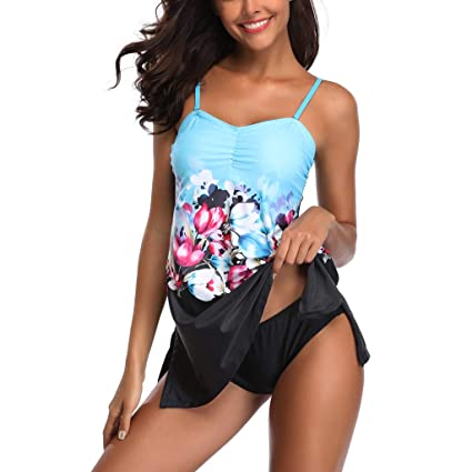 cabe0dd7243 Image Unavailable. Image not available for. Color: Women Print Swimwear 2pcs,  Lady Plus Size ...