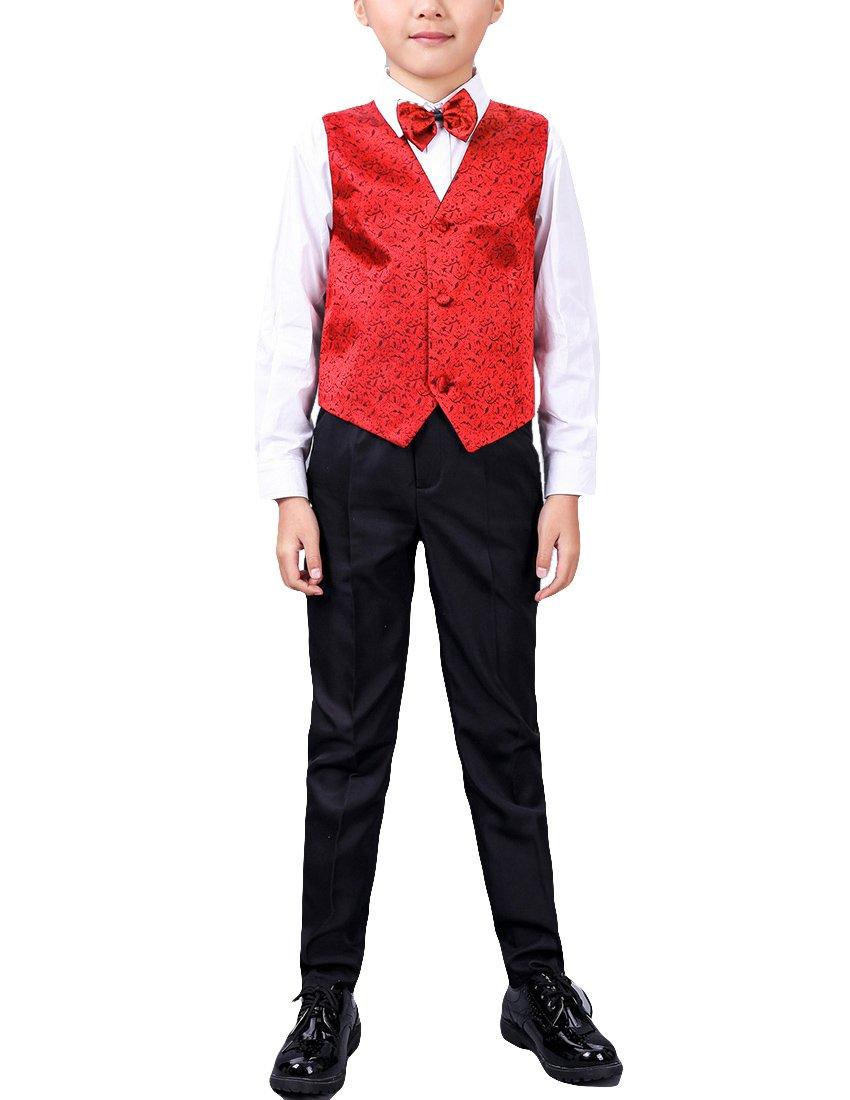 MFrannie Boys 4 Pieces Set Shining Vest Bow Tie Fall Wedding Kid Suit