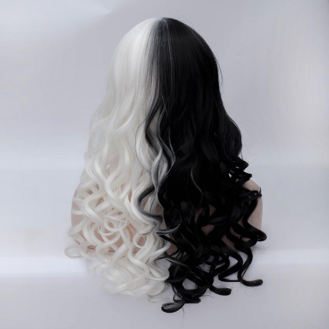 Anogol Hair Cap+Black White Bob Wigs Womens Two Tone Wig Short Wigs for Women