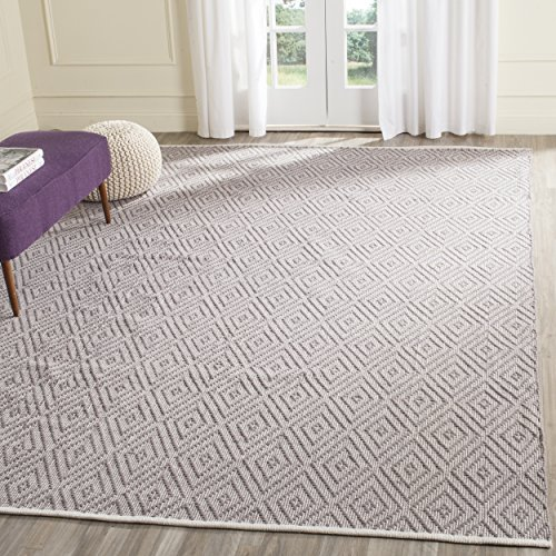 Safavieh Montauk Collection MTK811A Handmade Flatweave Grey and Ivory Cotton Area Rug (8′ x 10′)