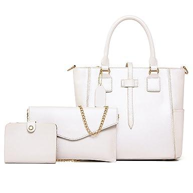Damen Koffer Dreiteilig Schulter Kettenpaket Messenger Handtasche Kartenpaket,LightPurple-OneSize CHENGXIAOXUAN