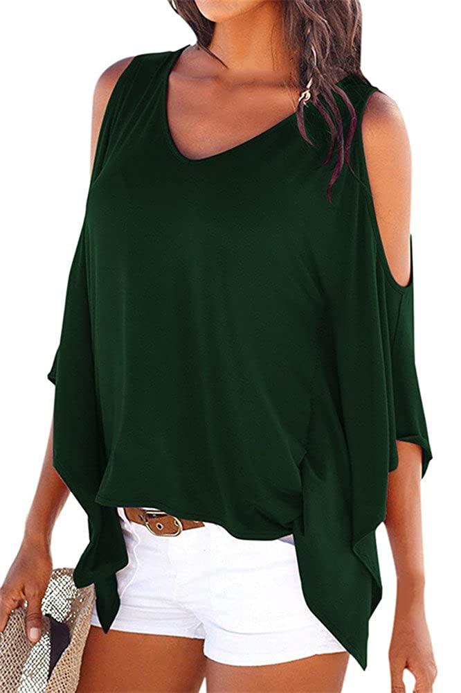 YINJIONG Womens Summer Off Shoulder Batwing Sleeve V-Neck Tshirt Tops Blouse