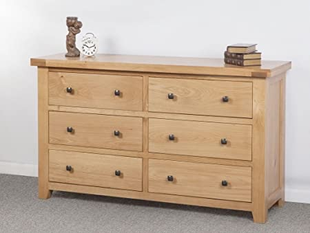 Devon Solid Oak 6 Drawer Wide Chest Of Drawers/Fully Assembled 6 ...