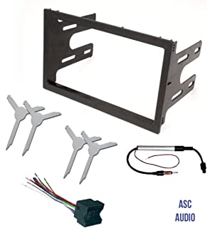 asc audio car stereo dash kit, wire harness, antenna adapter, and radio  remove