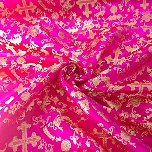 Metallic Church Cross Brocade Fabric 60 (Fuchsia / Gold) ()