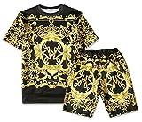 Pizoff Mens Short Sleeve Luxury Gold Baroque Print T-Shirt Shorts Sets Elastic Sport Lightweight Brand Design Y1817-09-S