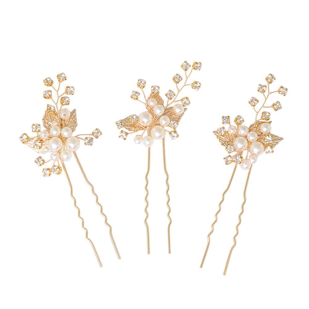 ULAPAN Hochzeit Haarspangen, Haarschmuck Hochzeit Blumen Braut Haarnadel Kristalle, Hochzeit Haarnadeln,