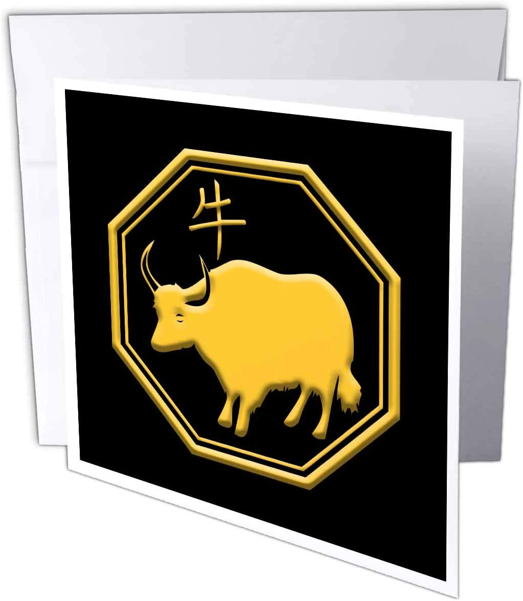 3dRose Alexis Design - Chinese Zodiac Calendar - Chinese Zodiac Symbols. Yellow on Black Image. The Year of The ox - 12 Greeting Cards with envelopes (gc_325344_2)