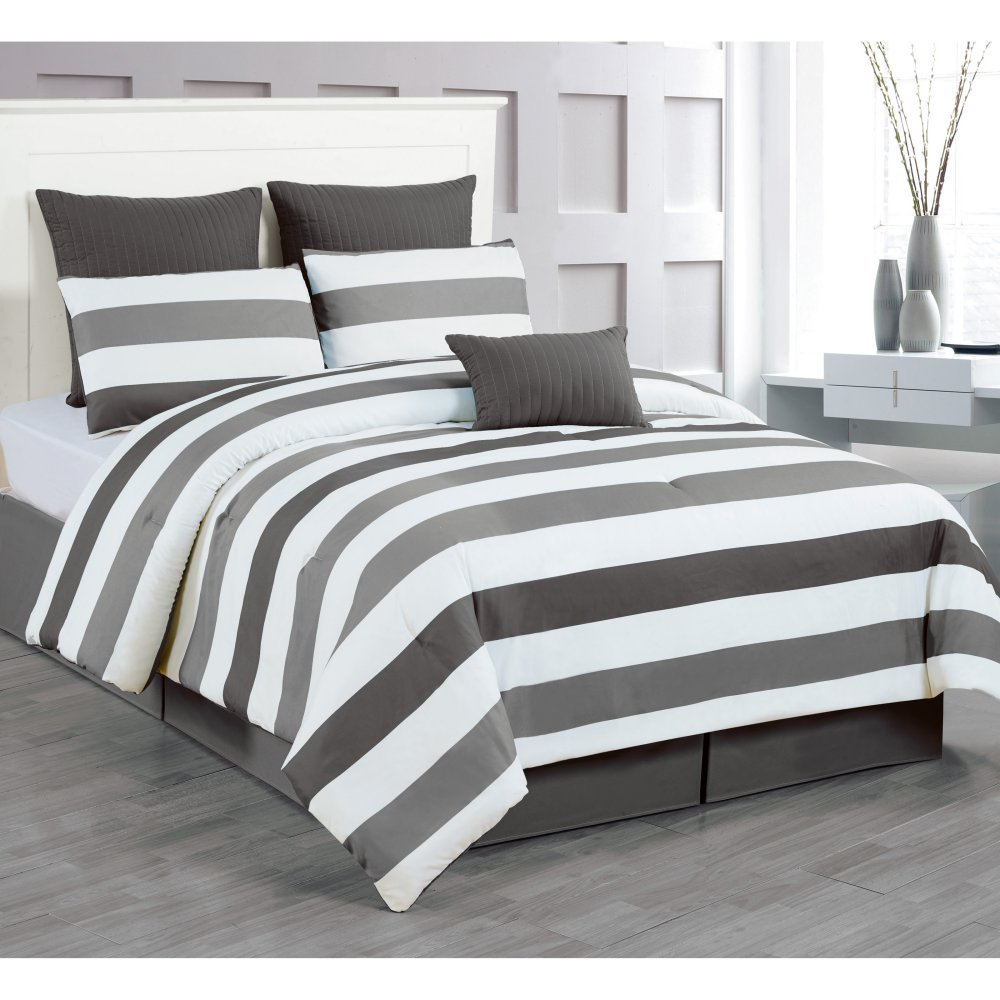 Duck River Textile -  Darby Hotel Quality Luxury Comforter Duvet Insert Cover Hypoallergenic | 7 Piece Set | Stripe Collection, | King Size | Charcoal & Grey