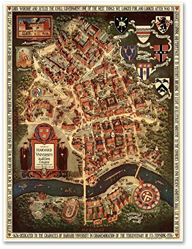 - Antiguos Maps MAP of Harvard University and Radcliffe College, Cambridge, Massachusetts - Circa 1935 - Measures 36